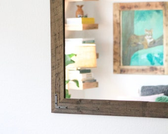 Pair of Mirrors - Rustic Wall Mirror - Large Wall Mirror - 42 x 30 Vanity Mirror - Bathroom Mirror - Rustic Mirror - Reclaimed Wood Mirror