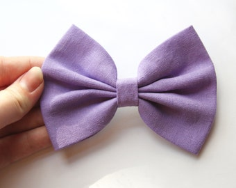 Sarah Hair Bow - Lavender Purple Solid Color Hair Bow with Clip