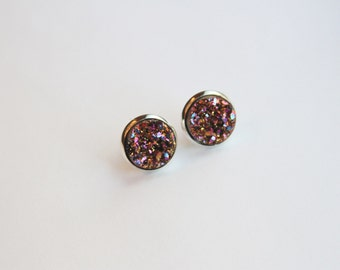 Copper/Gold/Pink/Purple Rainbow Chunky Faux Druzy Glitter Earrings - Posts/Studs 12mm LARGE (D21)
