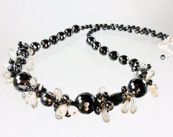 Black Onyx Necklace, Smoky Quartz, Sterling Silver, Statement Necklace, handmade fine necklace, black gemstone, gift for her, alira,3319