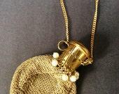 Antique Art Nouveau Expanding Gold Tone & Pearls Mesh Purse-Germany