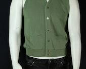 Vintage 70s men's sweater vest V neck buttom down sleeveless cardigan Preppy knit vest Men hipster clothing Retro sage green sweater vest