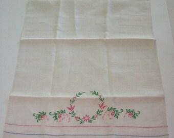 Vintage Embroidered Linen Tea Towel Hand Towel