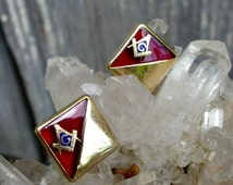 Vintage Anson Masonic Cuff Links with Masonic Compass & Square Emblem, Deep Red Acrylic and Gold Plated Top, Signed, Striking and Stylish