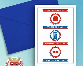 Doctor Who Valentine's Day Birthday Printable Card