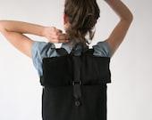 BLACK LAPTOP BACKPACK black leather backpack vegan backpack rolltop backpack minimalist backpack big laptop backpack large black backpack