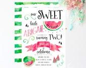 Watermelon Invitations - Watermelon Birthday Invitations