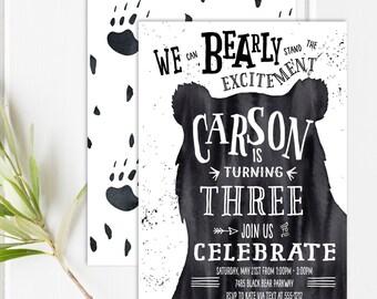 Bear Birthday - Bear Invitation - Bear Birthday Invitation - Woodland Birthday Invitation - Woodland Birthday