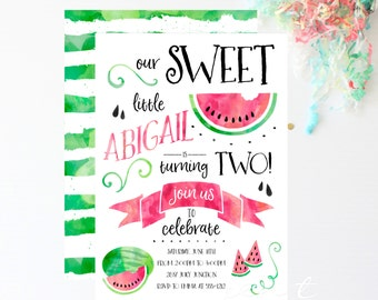 Watermelon Invitations - Watermelon Birthday Invitations