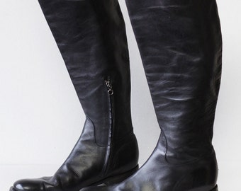 BLAY Vintage black leather tall knee length equestrian riding boots Size 10.5
