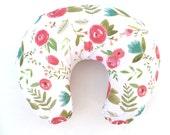 Boppy Cover Happy Floral. Boppy. Nursing Pillow. Boppy Pillow Cover. Boppy Slipcover. Minky Boppy Cover. Floral Boppy Cover.