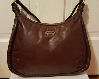 ETIENNE AIGNER PURSE // 70's Vintage Brown Leather Shoulder Saddle Bag Retro 80's