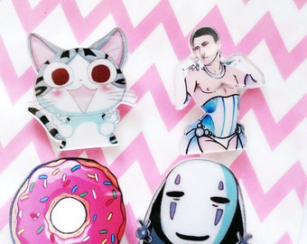 Kawaii acrylic pin brooch for backpack purse or shirt no face donuts Hitler