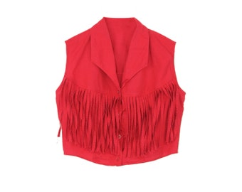 Fringe Crop Top - Shawl Collar Button Down Fringe Bodice Lightweight Red Cotton Boho Southwest Festival Top Midriff Blouse Sleeveless Tank