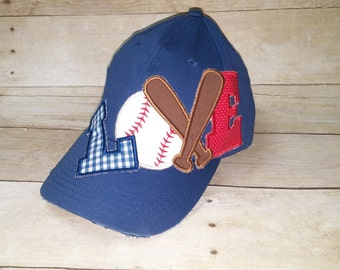 I Love Baseball Distressed Applique Hat * Baseball Mom Hat * Embroidered Baseball Cap