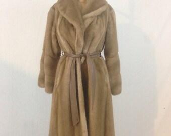Faux Fur Coat ILGWU with Leather Belt