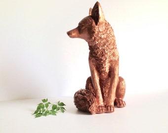 "LITE BRONZE Large Fox Animal Statue  / faux fox / nursery decor / woodland / table top decor / cabin decor / Large statue 13.5 "" tall /"