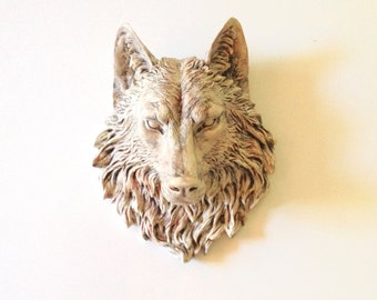 ANTIQUE WHITE FINISH/ Faux Aged Large Faux Taxidermy Wolf head wall mount wall hanging / animal head / woodland / chic / farmhouse decor