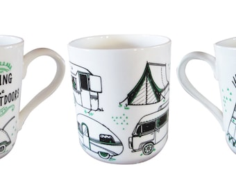 Camping fine bone china mug