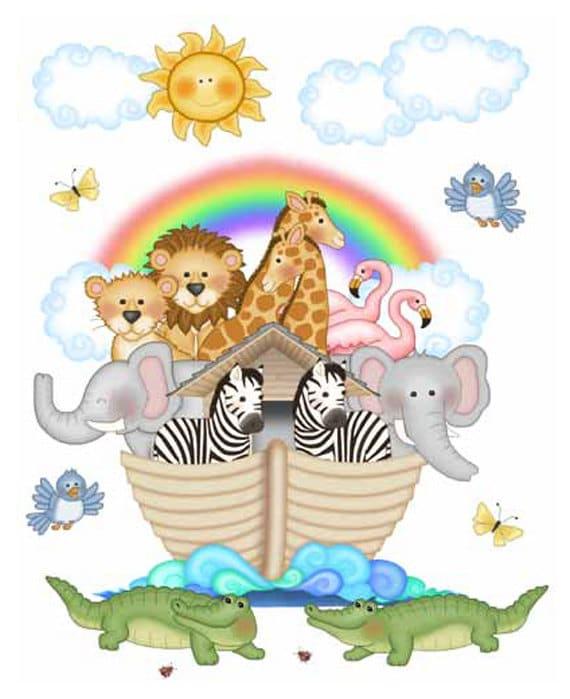 Noahs ark mural decal wall art baby safari jungle animal for Baby mural stickers