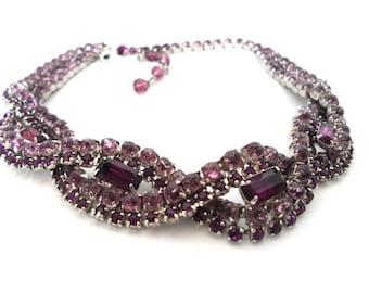 Vintage Lavender and Purple Braided Rhinestone Choker Necklace Vintage Rhinestone Jewelry