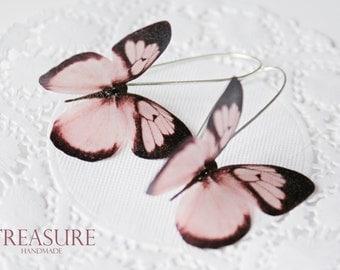 Pink butterfly earrings, butterfly earrings, butterflies, pink butterflies, pink jewelry, long earrings, pink earrings, dangle earrings