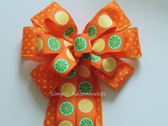 Yellow Orange Citrus Summer Party Decor Citrus Summer Wreath Bow Lemonade Summer Party Decoration Summer Wreath Bow Citrus Showers
