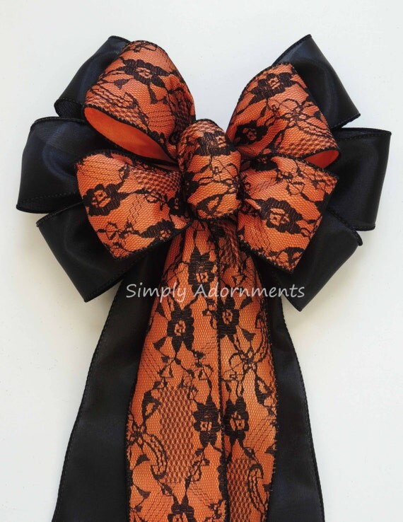 Orange Black Lace Bow Halloween Orange Black Wedding Pew Bow Orange Black Lace Pew bow Orange Halloween Lace Bow Halloween Party Decoration