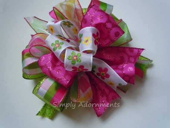 Funky Gift Bow Whimsical Pink Green Gift Bow Funky Pink Green Birthday Party Decoration Bridal Shower Decor Bow Funky Cake Bow