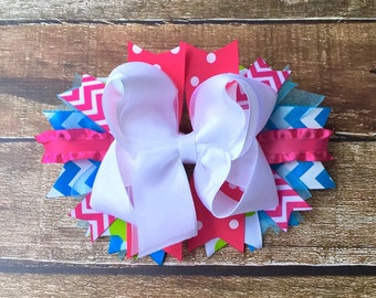 Girls hair bows White Pink Turquoise Chevron Stacked Boutique hair bows