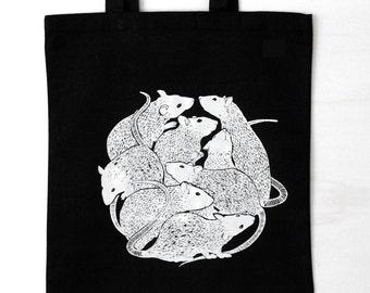 Rat Circle, rats, cotton bag, tote bag, hand printed, white print on black