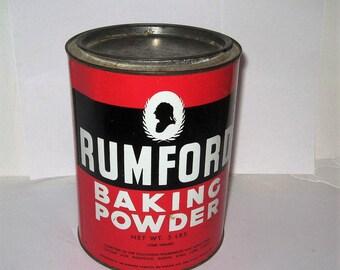 Five Pound Rumford Baking Powder Tin - 5 Pound Baking Powder Tin - Rumford Baking Powder Tin - Five lbs, Baking Powder Tin