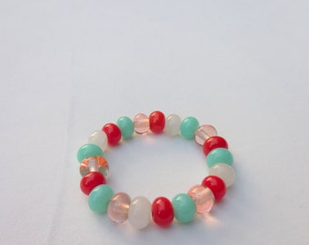 Glass bead bracelet - lampwork handmade - red, mint green, pink, white