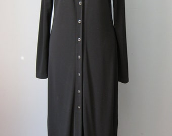Emanuel Ungaro Maxi dress / Vtg 90s / Black Buttondown maxi dress designer Emanuel Ungaro Size 10