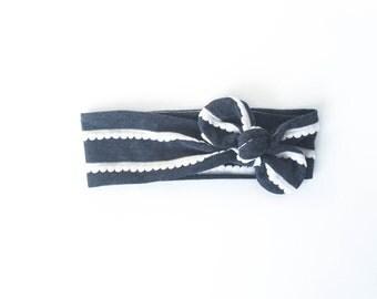 grey, charcoal, black, ruffles, girls accessories, baby headband, boho headband, tie up wrap, top knot - one size fits all