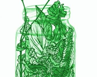 jar of leaves green art print