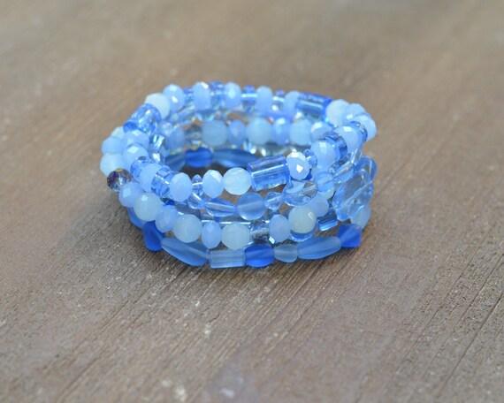 LAST ONE - Something Blue Bracelet - Its a Boy Baby Shower Bracelet - Layered Bead Bracelet - Light Blue Stack Bracelet - Blue Jewelry
