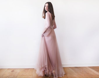 Pink maxi tulle dress, Bridesmaids blush maxi gown, Backless maxi pink formal dress 1050