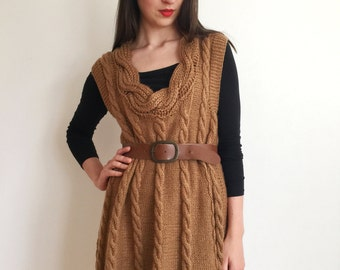Dress knit knitted dress handmade rustic knit cableknit camel brown long dress woman size S M