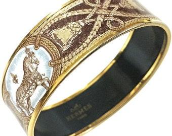 Vintage Hermes cloisonne enamel horse and tassel, fringe design golden thick bangle, bracelet.