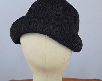 Black Straw Cloche Hat Slouchy Summer