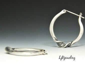 Silver Hoop Earrings, Twisted Hoop Earrings, Sterling Silver, Metalsmith Jewelry, Handmade