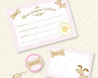 Pink Puppy Printable Adoption Certificate Kit pawty favor party favors stripes paw woof bone birthday instant download editable pdf digital