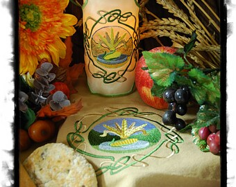 Wheel of the Year - Celtic Knot Lammas Embroidered, Candle Wrap and Matching Altar Cloth, Set.