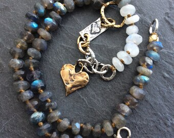 Labradorite necklace, moonstone gems, sterling and bronze 'Pure heart' mixed metal jewelry, gift for her by mollymoojewels
