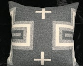 Gray, White, Black Wool pillow, Red invisible zipper