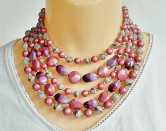 Pink and Purple Bead Choker Necklace, Multi Strand, Marbled Silver Gray and Colorful Beads, Unique Five Strand Vintage Necklace