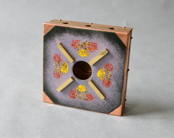 Vintage brass copper candle warmer portable hearth tea pot warmer enamel 60s Mid-Century Modern