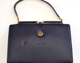 50s 60s Vintage Handbag, Navy Faux Leather Purse, Gold Toned Metal Hardwear, Top Handle Bag