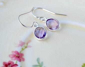 Amethyst Earrings, Sterling Silver Earrings, Dangle Earrings, Purple Earrings, Dainty Bezel Earrings, February Birthstone, Drop Earrings UK